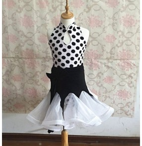White and black polka dot printed girls kids children stage performance competition latin salsa dance dresses costumes outfits