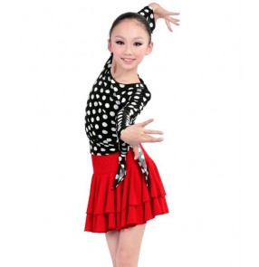 White and black polka dot printed top and red skirts  girls kids child children growth baby toddlers gymnastics competition professional latin salsa cha cha rumba samba dance dresses set  split set 110-170cm