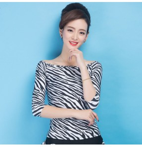 White and black zebra printed middle long sleeves spandex women's ladies female competition performance professional ballroom waltz tango latin flamenco dance dresses tops blouses