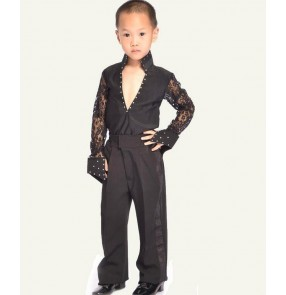 White black colored boys kids child children toddlers long lace sleeves split set competition professional practice latin  dance dresses set top shirts and long pants