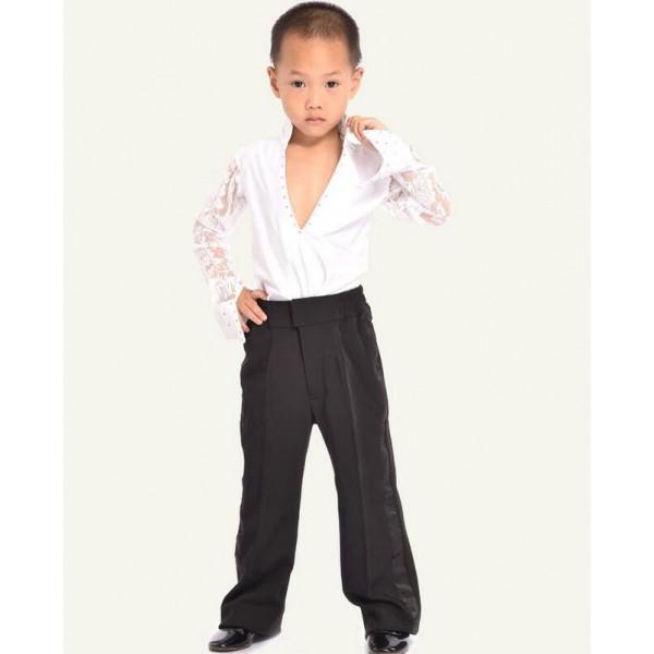 White black colored boys kids child children toddlers long for White shirt black pants