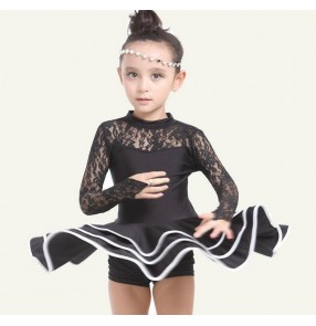 White black lace colored girls kids child children toddlers baby long sleeves competition practice professional latin dance dresses swing skirts with shorts