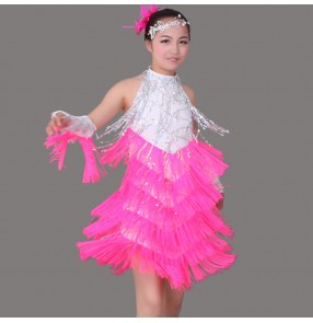 White black orange royal blue fuchsia red colored girls kids child children sequins paillette competition professional latin dance dresses