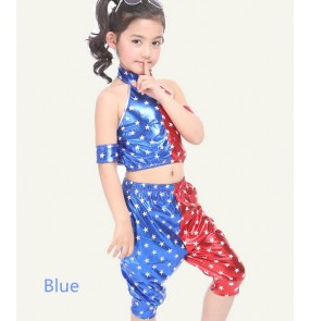White blue red white patchwork stars printed pu leather Girls boys children child kids kindergarten toddlers stage performance modern dance jazz dj street dance hiphop costumes