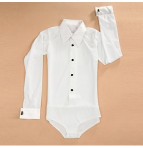 White colored boys kid children child baby competition long sleeves turn down collar latin jive ballroom  waltz tango dance leotard shirts tops