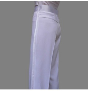 White colored men's mans mens male competition professional samba latin waltz tango rumba ballroom side hip  silk ribbon dance pants costumes