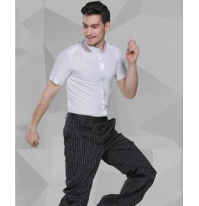 White colored mens male man short sleeves stand collar competition exercises latin ballroom waltz tango dance dress shirts tops