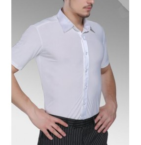 White colored short sleeves mens men's male man turn town collar competition exercises summer latin ballroom jive waltz tango dance shirts tops