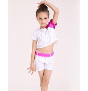 White colored  with fuchsia sashes girls kids children split set modern dance stage performance jazz dj ds dance costumes tops and shorts