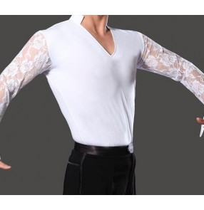 White long lace sleeves male adult men's boys kids children v neck competition performance professional latin ballroom tango flamenco dance tops shirts for mens man