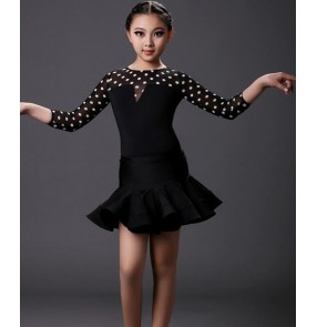 White polka dot  leopard patchwork colored girls kids  toddlers child children long sleeves competition professional latin ballroom dance dresses split sets