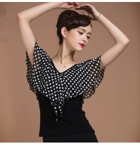 White polka dot ruffles neck and sleeves v neck sexy fashion women's ladies female competition performance professional latin ballroom tango waltz flamenco dresses tops blouses
