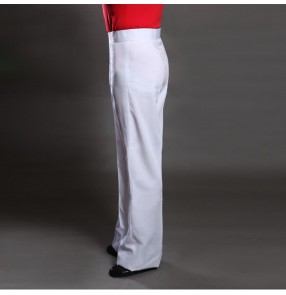 White pure colored boys kids children men's male international competition performance professional performance waltz tango ballroom show play flamenco latin rhythm practice dance dancing pants trousers