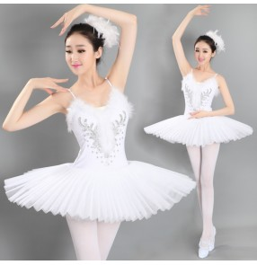 White red black fuchsia Women's Adult ladies Professional competition Swan Lake Tutu Ballet Costumes  Platter Skirts ballet Dance Dresses