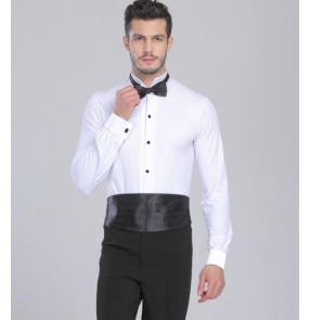 White red black stand collar long sleeves competition professional latin ballroom dance leotard tops shirts