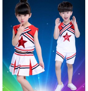 White red patchwork sleeveless girls boys kids child Children toddlers growth gymnastics practice exercises cheer leading dance costumes sports stage performance clothes costumes