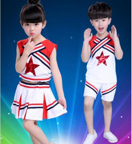 White Red Patchwork Sleeveless Girls Boys Kids Child Children Toddlers Growth Gymnastics ...