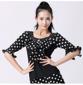 White  red polka dot  black patchwork short sleeves boat neck slash neck ruffles front women's girls competition performance latin ballroom tango waltz flamenco dance tops blouses