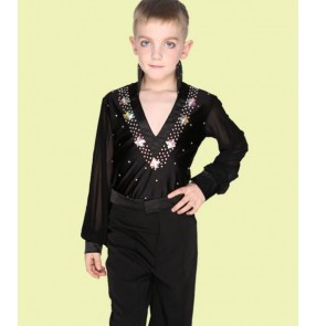 White royal blue black rhinestones Boys kids child children toddlers v neck long sleeves competition professional leotard latin ballroom salsa cha cha dance shirts tops