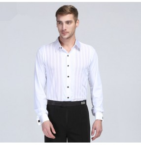 White striped long sleeves Adult  men's males mans mens competition professional turn down collar  latin ballroom dance shirts body tops  leotard dancing stage performance  shirts