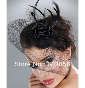 White Wedding Hats Birdcage Face Veil Bridal Flower Pearl Feathers Fascinator