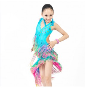 Wholesale Girls long tassel rainbow color professional competition rhinestone latin dance dress  110-1160cm