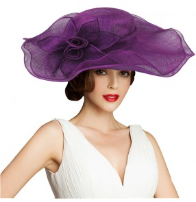 Wide Brim Sinamay violet  Church hat Race wedding  Fedoras