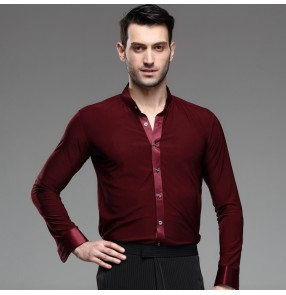 Wine colored mens men's male man long sleeves stand collar standard professional competition ballroom latin jive waltz tango dance dress shirts tops