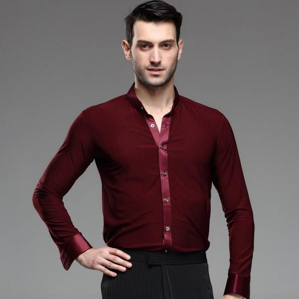 Wine colored mens men 39 s male man long sleeves stand collar for Wine colored mens dress shirts
