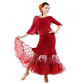 Wine red black women's polka dot ballroom dancing dress set dance top dance skirt