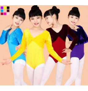 Wine red blue turquoise pink fuchsia violet purple black yellow velvet patchwork long sleeves girl kids child children toddlers leotard gymnastics practice latin ballet dance costumes tops