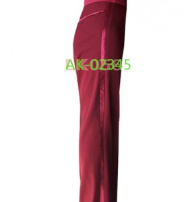 Wine red colored mens men's mans male competition professional side ribbon standard jive latin ballroom waltz tango dance long pants trousers