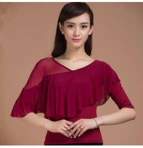 Wine red colored women's ladies female round neck ruffles tulle cap sleeves  front and back competition professional latin ballroom waltz tango dance tops only