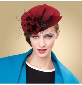 Wine red  fuchsia Fashion Bow Veil Small fedoras Hat 100%wool