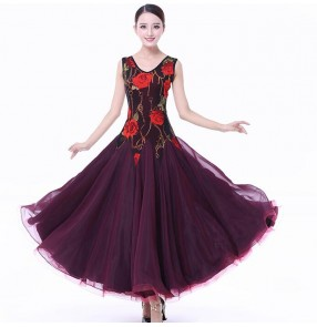 Wine red rose floral fuchsia yellow patchwork long length sleeveless competition women's ladies professional ballroom waltz dance dresses
