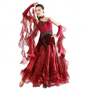 Wine red royal blue Women's diamond pattern senior ballroom dancing dress full skirt