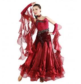 Wine red royal blue Women's diamond pattern senior ballroom dancing dress full skirt