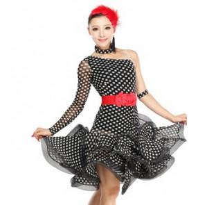 Women exercise latin dance dress wear polka dot lady cha cha rumba dot dress