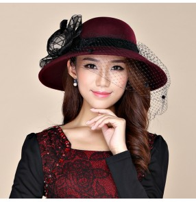 Women Fascinator 100% Wool Hat Formal Party Wedding gothic Church Bow Veil fedoras headdress large brim hat
