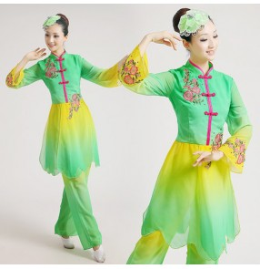 Women girls gradient green long sleeves chinese folk dance costumes yangko traditional fan dance clothes  set