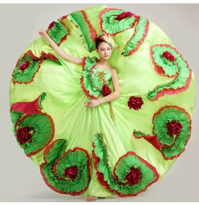 Women green  blue turquoise  straps floral big full  hem skirted chinese folk dance costumes modern dance dresses stage performance clothes