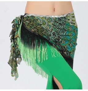 Women' green peacock triangle tassel sexy belly dance  hip scarf  costume only hip scarf