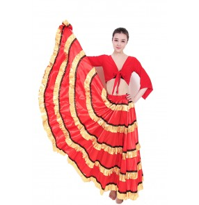 Women ladies black red gold patchwork striped swing skirt folk dance Spanish bull dance skirts costumes flamenco dance stage performance swing skirts 540 Degree