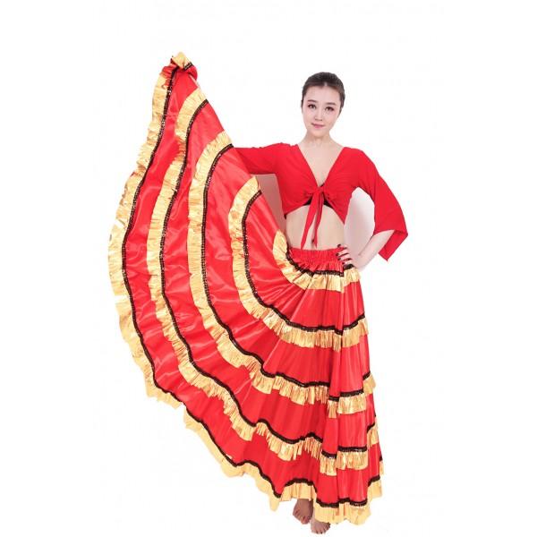 8eec5e80998d Women ladies black red gold patchwork striped swing skirt folk dance Spanish  bull dance skirts costumes flamenco dance stage performance swing skirts  540 ...