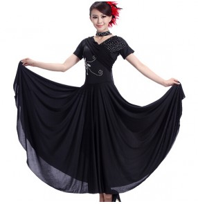 Women latin salsa dance dress, stage performance show match black red ballroom flamenco dress waltz dress
