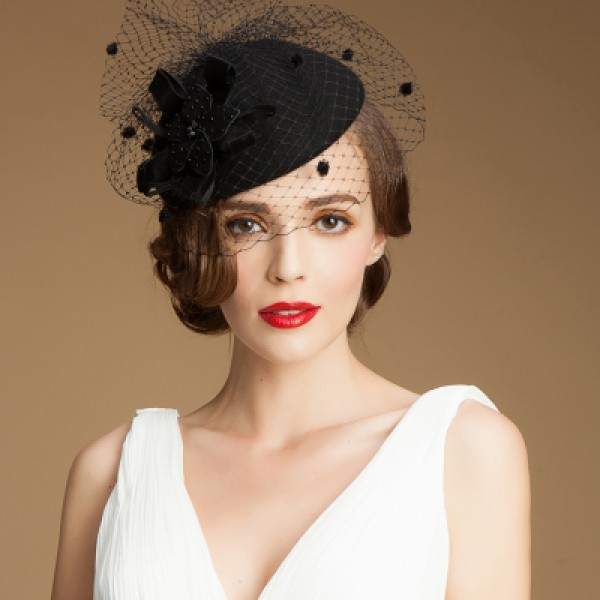 f11d073d599 Women s 100% wool fedoras pillbox hat veil top wedding hat black ...