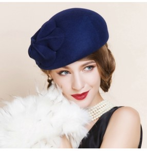Women's 100% wool royal blue top pillbox hat  wedding party hat