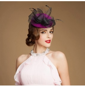 3255fce3bca Women s 100% wool wedding party fedoras and pillbox hat top hat purple red  black one
