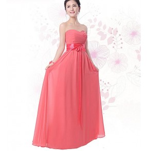Women's A-line long length chiffon coral color several styles bridesmaid dresses lace back adjustable closure