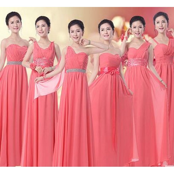Women's A-line long length chiffon coral color several styles ...